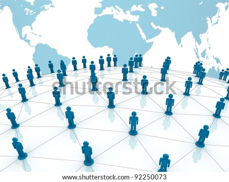 Social network concept on world globe map background - stock photo
