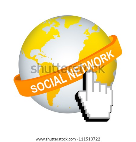 Social Network Concept, Orange Social Network Band Around The World With Hand Cursor Isolated on White Background - stock photo
