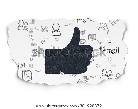 Social network concept: Painted black Thumb Up icon on Torn Paper background with Scheme Of Hand Drawn Social Network Icons, 3d render - stock photo