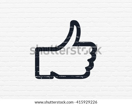 Social network concept: Painted black Thumb Up icon on White Brick wall background - stock photo
