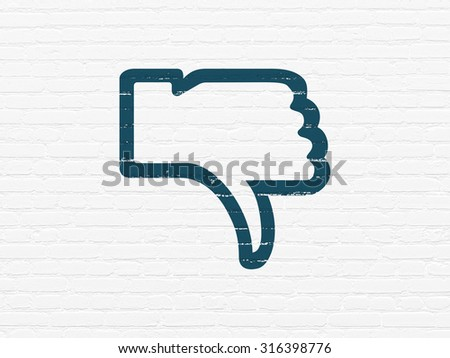 Social network concept: Painted blue Thumb Down icon on White Brick wall background - stock photo
