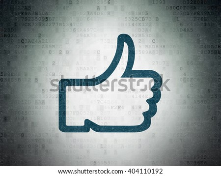 Social network concept: Painted blue Thumb Up icon on Digital Paper background - stock photo