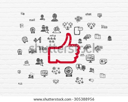 Social network concept: Painted red Thumb Up icon on White Brick wall background with  Hand Drawn Social Network Icons, 3d render - stock photo