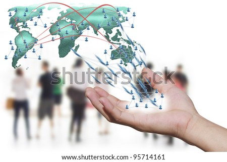 Social network concept  people over world map - stock photo