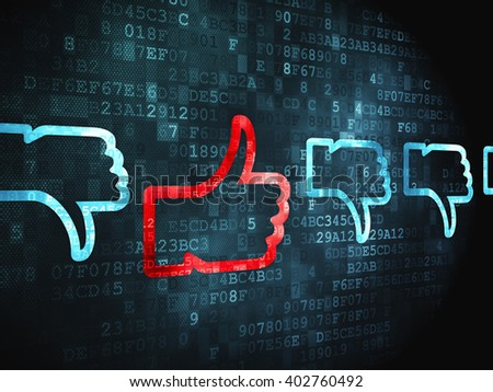 Social network concept: pixelated Thumb Up, Down icon on digital background - stock photo
