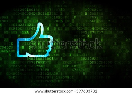 Social network concept: pixelated Thumb Up icon on digital background, empty copyspace for card, text, advertising - stock photo