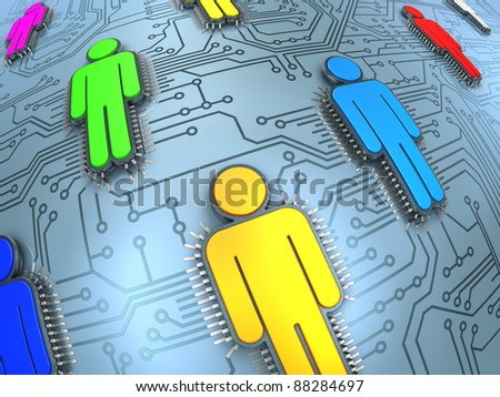 Social network concept. Printed circuit with human silhouette microchips. - stock photo