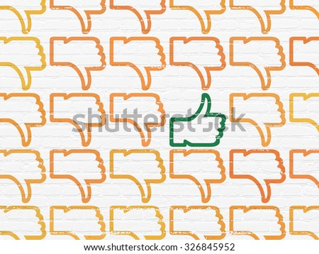 Social network concept: rows of Painted orange thumb down icons around green thumb up icon on White Brick wall background - stock photo
