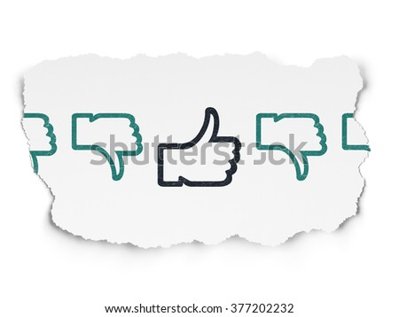Social network concept: thumb up icon on Torn Paper background - stock photo