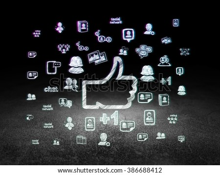 Social network concept: Thumb Up in grunge dark room - stock photo