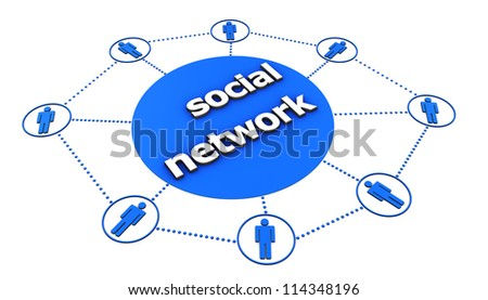Social Network concept with central sign and blue icon of people connected by dotted lines on white background. - stock photo