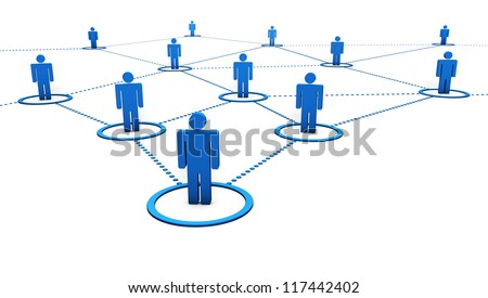 Social Network concept with connection of 3d people by dotted blue lines on white background.