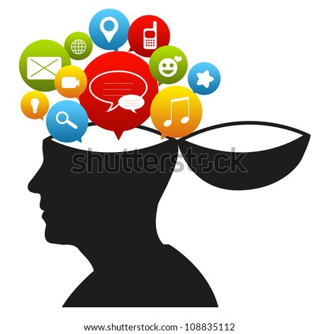 Social Network Concept With Head and Group of Social Icon Isolated on White Background - stock photo