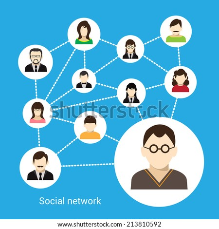 Social network concept with male and female avatars connected  illustration