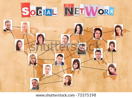 Social network concept with people photos in paper background - stock photo
