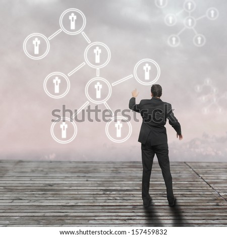 Social network concept with the businessman - stock photo