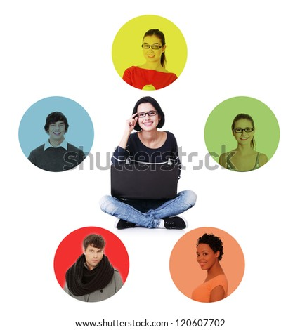 Social network concept. Young woman with laptop connecting with her friends through social network. - stock photo