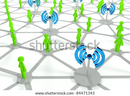 Social network connection with wifi - stock photo