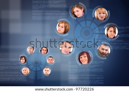 social network friends circle in digital futuristic background - stock photo