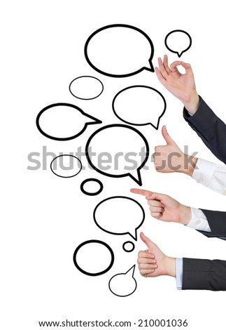 Social network gesturing, professional communication. Isolated on white background.  - stock photo