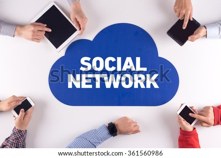 SOCIAL NETWORK Group of People Digital Devices Wireless Communication Concept - stock photo