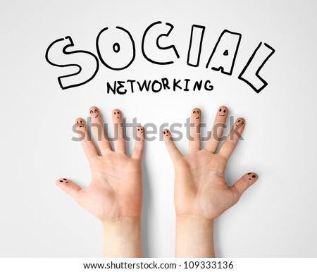 social network, happy finger smileys - stock photo