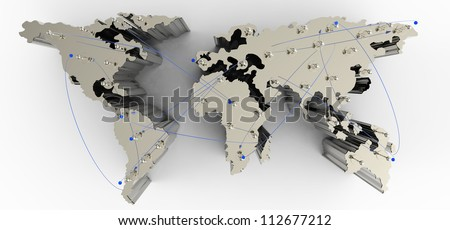 social network human 3d on world map as concept