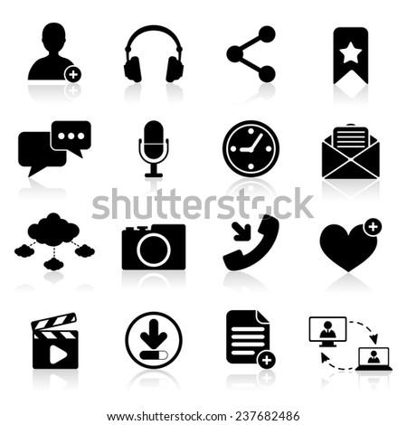 Social network icons black set with web navigation elements isolated  illustration - stock photo