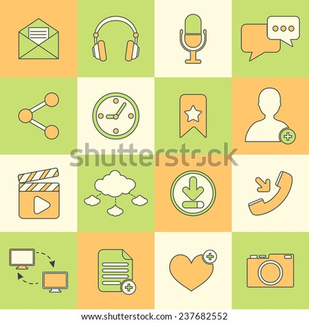 Social network icons flat line set with communication user interface elements isolated  illustration