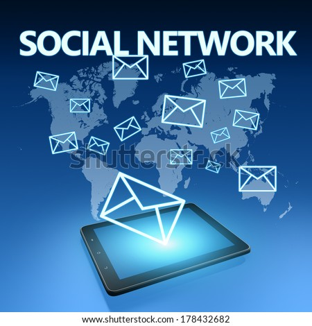 Social network illustration with tablet computer on blue background