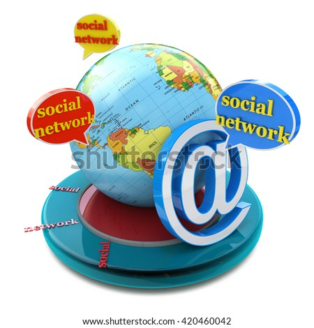 Social network in the design of the information related to the communication and message. 3d illustration - stock photo
