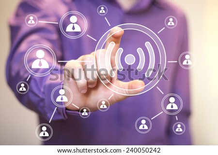 Social Network Interface business wifi button