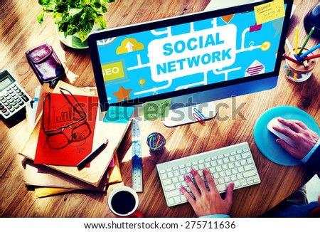 Social Network Internet Online Society Connecting Social Media Concept - stock photo