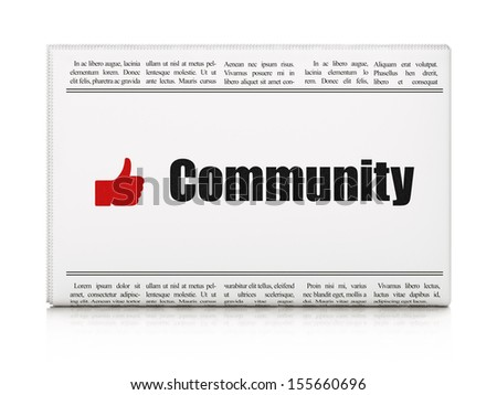 Social network news concept: newspaper headline Community and Like icon on White background, 3d render - stock photo