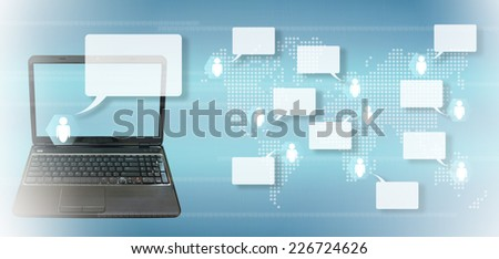 social network on a touch screen interface  - stock photo
