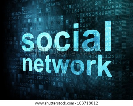 Social network on digital background on digital screen, 3d render - stock photo