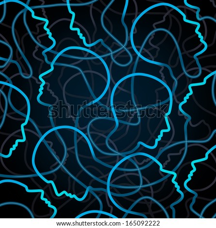 Social network organization and global communication connections as a business concept with a group of linked human head symbols as a metaphor for unity and communicating together through technology. - stock photo