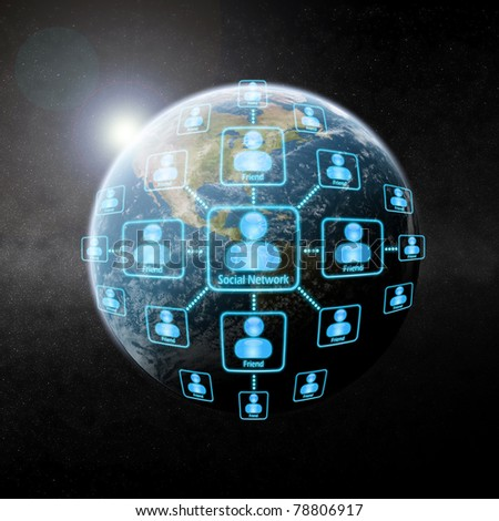 Social Network over the Earth - stock photo