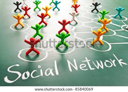 Social network, people in drawing net on blackboard. - stock photo