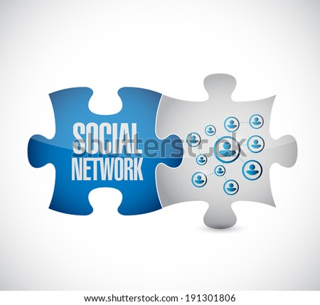 social network puzzle pieces connection link illustration design over a white background - stock photo