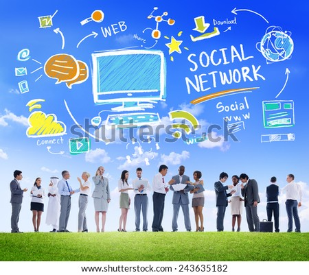 Social Network Social Media Business People Communication Concept - stock photo
