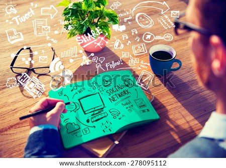 Social Network Social Media Internet WWW Web Online Concept - stock photo