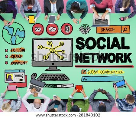 Social Network Social Media Internet WWW Web Online Concept - stock photo