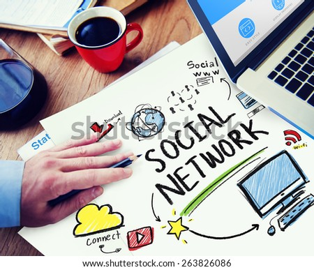 Social Network Social Media Office Working Workplace Concept - stock photo