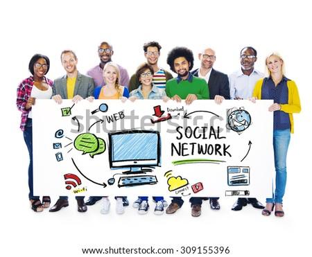 Social Network Social Media People Diversity Banner Concept - stock photo