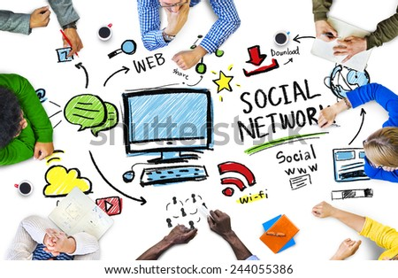 Social Network Social Media People Meeting Communication Concept - stock photo