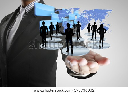 social network structure in a hand  - stock photo