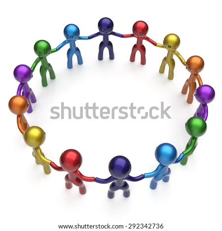 Social network stylized people teamwork men together circle characters worldwide large group friendship individuality team different cartoon friends unity human resources concept. 3d render isolated - stock photo