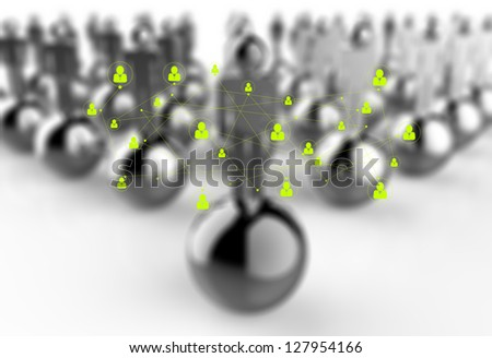 social network symbol and 3d as concept - stock photo
