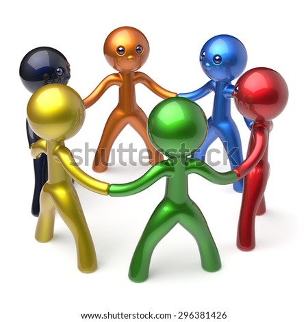 Social network teamwork men circle people individuality characters human resources friendship team six different cartoon friends unity meeting brainstorm icon concept colorful 3d render isolated - stock photo